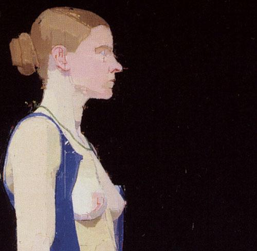 """фрагмент картины """"Шагающая обнаженная, синее платье"""" (Euan Uglow)"""
